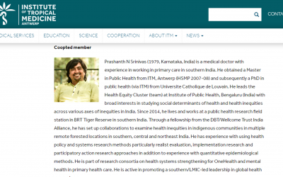 Dr. Prashanth N S invited to join the governing council of Institute of Tropical Medicine, Antwerp