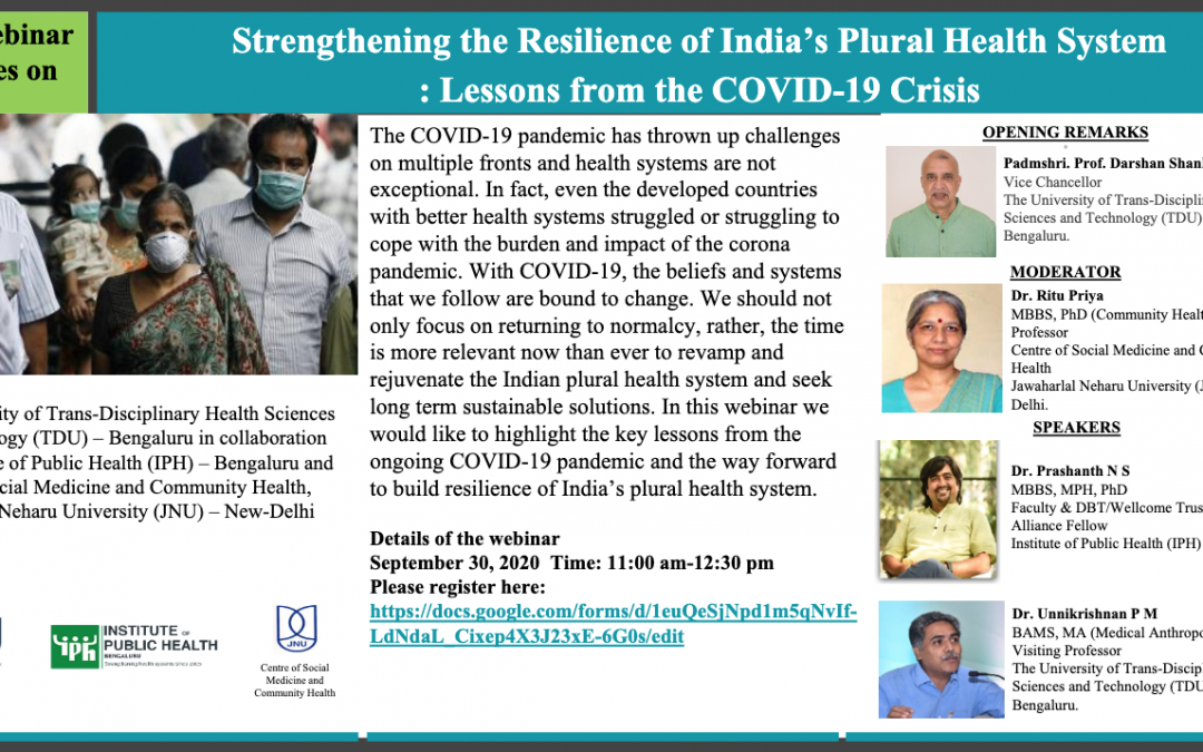 Webinar series on Strengthening the Resilience of India's Plural Health System